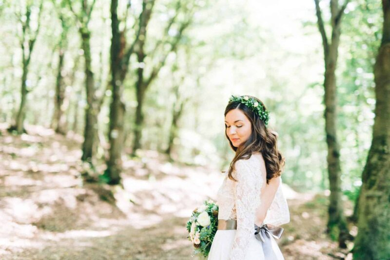 bride-looking-back-quiet-flower-crown