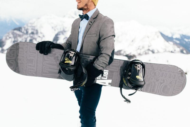 snowboard groom bowtie