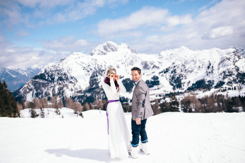 nassfeld ski wedding couple