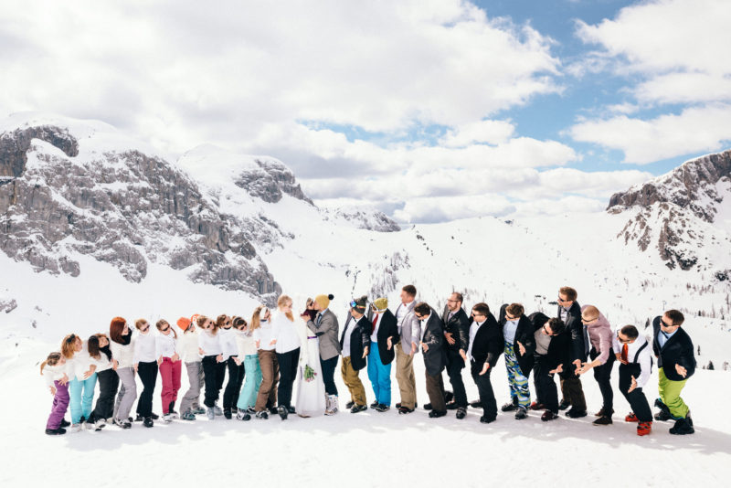 snowboard wedding party