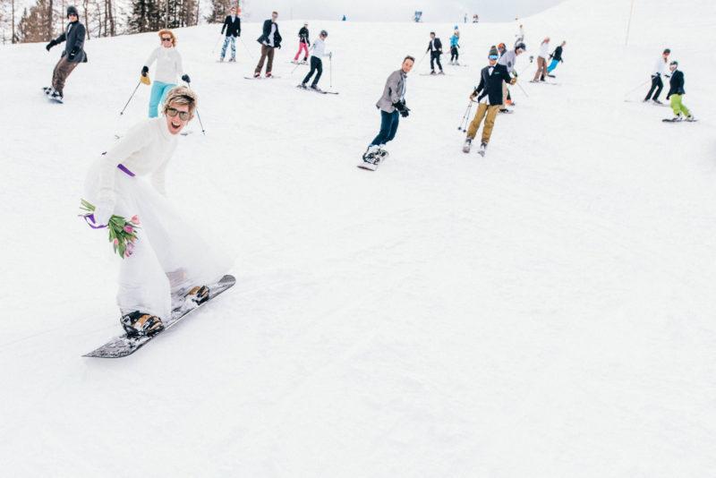snowboarding bride