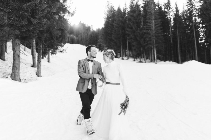 winter ski wedding