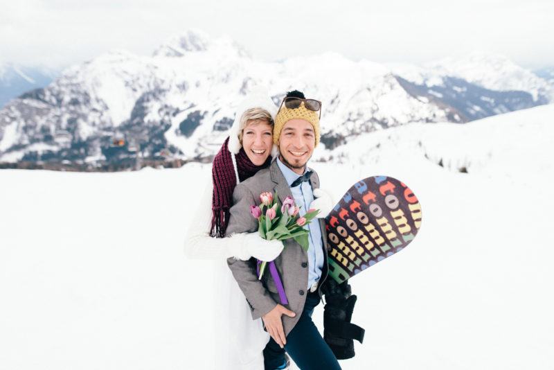 newlyweds mountains bride groom had snowboard