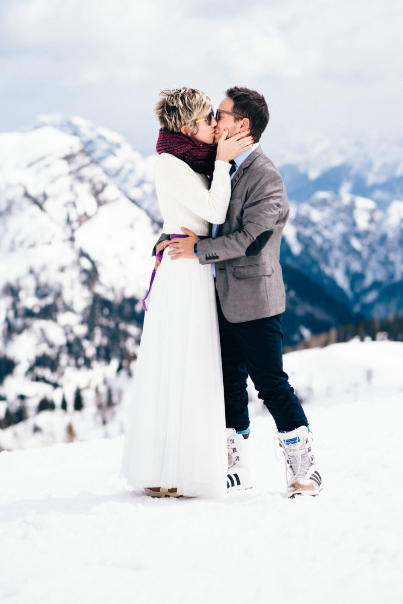couple loving each other in snow