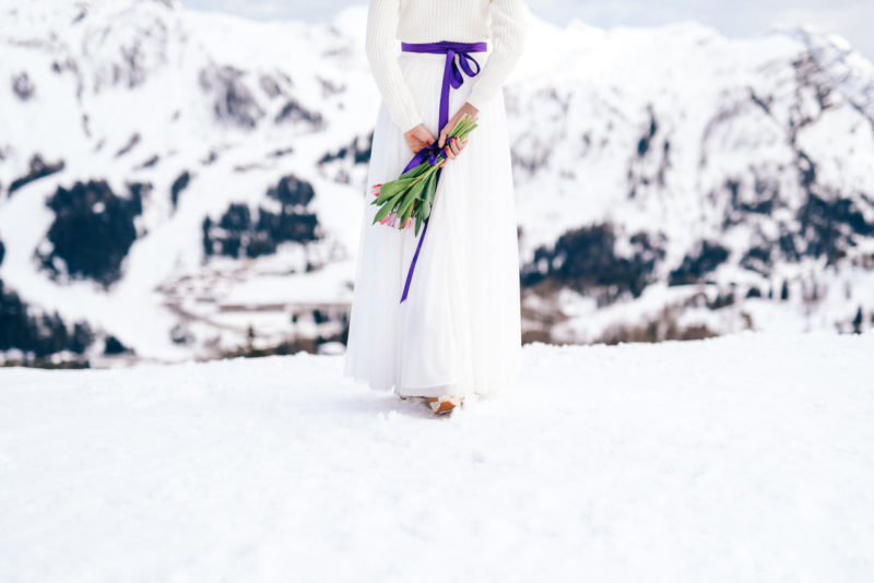 winter wedding bride portrait
