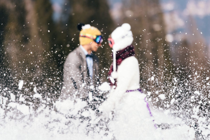 snowboard wedding couple