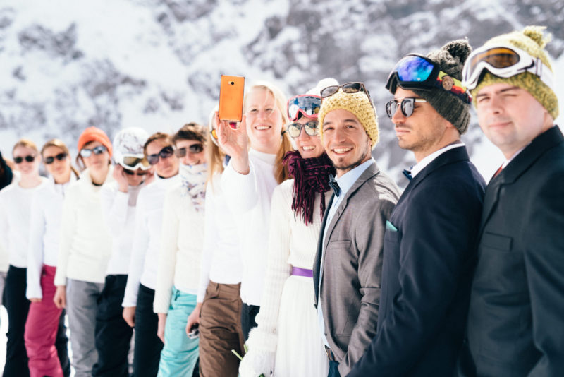 snowboard wedding group shot