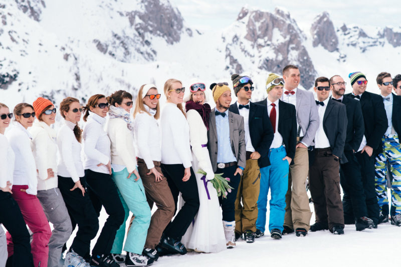 wedding party snowboarding