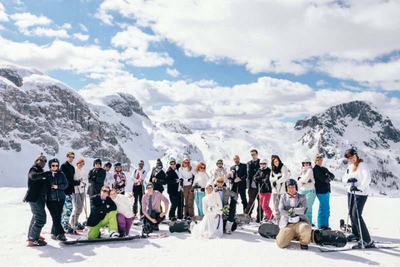ski wedding group photo
