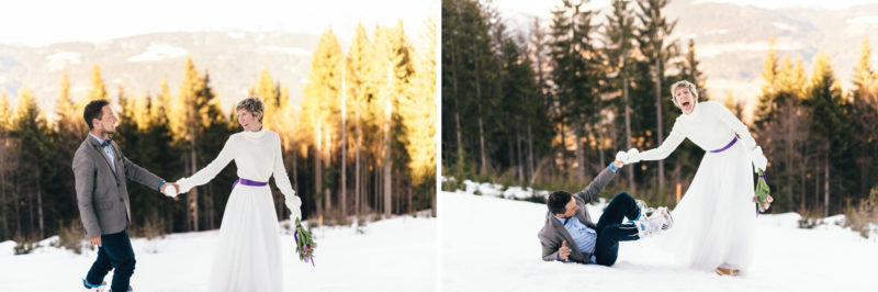bride and groom in sunset walking in snow